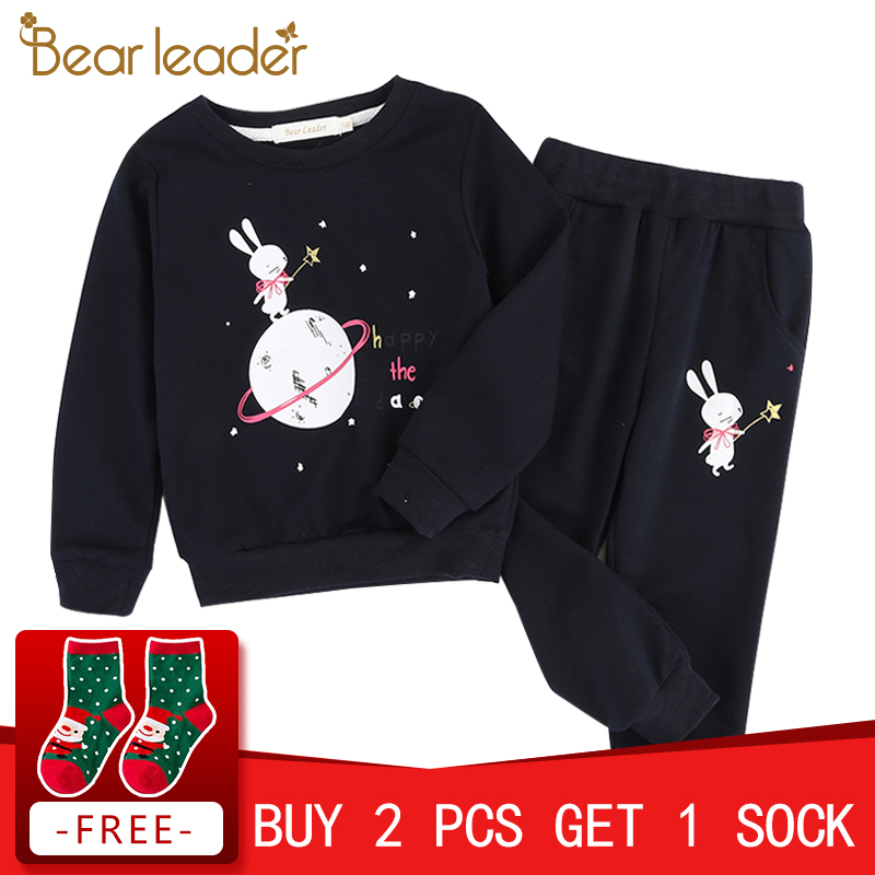 Bear Leader Girls Clothing Sets 2018 New Autumn Active Style Girls Clothes Long Sleeve Lace Patchwork T-shirt+Pants for Suits bear leader girls skirt sets 2018 new autumn