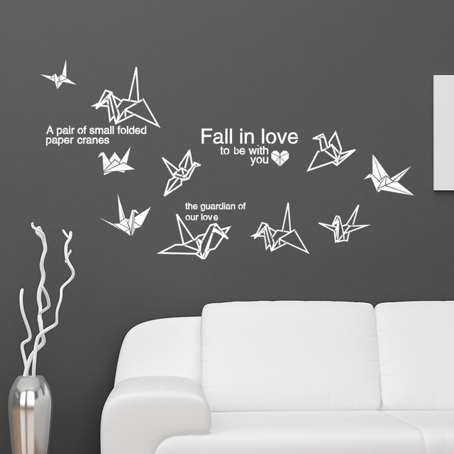 [SHIJUEHEZI] Customized Paper Crane Wall Stickers Creative DIY English  Words Wall Decals For Living