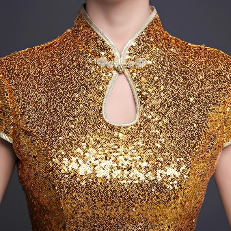 wanita pendek emas sequin formal dinner party cinese cheongsam - Pakaian kebangsaan - Foto 3