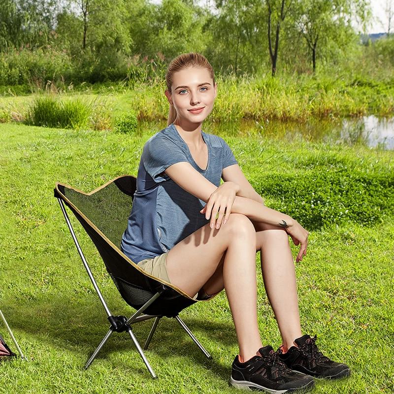 Hewolf Camping lune chaise pliante ultra-légère chaises de pêche Portable en alliage d'aluminium siège pour enfants parc de voyage pique-nique plage