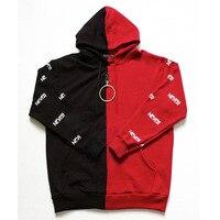 WANNA ONE Jacket Park Jihoon Red Black Stitching With Circle Young Group Tide Hoodie Jacket Sweatshirt KPOP