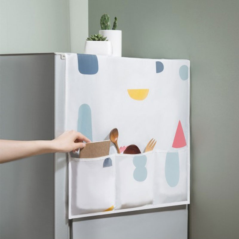 Household Refrigerator Dust Cover With Storage Bag Freezer Top Multifunction Kitchen Supplies Accessories Hanging Bag image