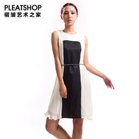 Miyake original design fashion black and white stripes one piece dress pleated high quality chiffon formal dress women's