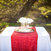ShinyBeauty 14x108inch Red Sequin Table Runner Red Sequin Table Linen For Home Table Decoration A