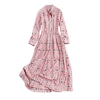 2018 New Printed Chiffon Dress Women Spring Dress Women New Collar Nine Point Sleeve Pleated Dress