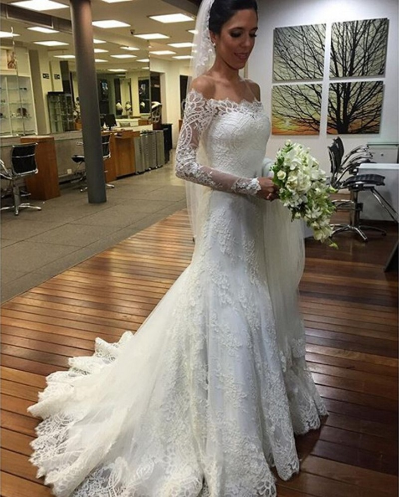 Elegant lace mermaid wedding gowns long sleeve off for Off the shoulder lace mermaid wedding dress