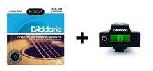 D'Addario EXP16 Coated Phosphor Bronze Acoustic Guitar Strings, Light & NS Micro Soundhole Tuner Bundle ghs strings vn xl vintage bronze