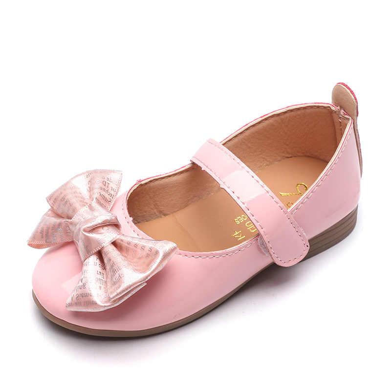 Zapatos de cuero para niñas 2019 primavera otoño mariposa-anudado princesa zapatos antideslizantes para niños mostrar zapatos casuales para niños