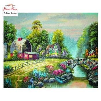 Golden Panno,Needlework,DIY DMC 14CT Cross stitch Kit,Multicolored Bridge  Counted Pattern Embroidery Cross-stitch Painting 0119