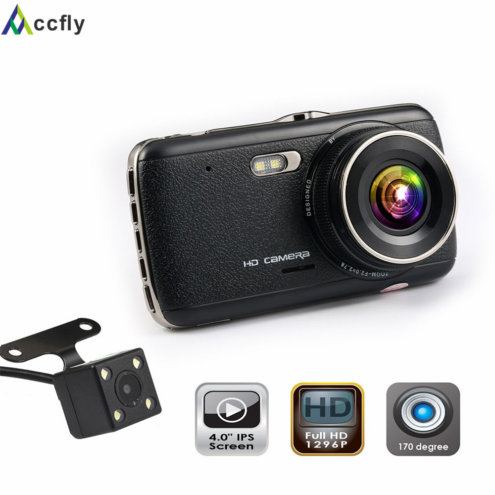 Accfly 4,0 palcový DVR rekordér do auta Dash kamera kamera dashcam dual objektiv auto videorekordér rekordér Full HD 1296P IPS obrazovka WDR