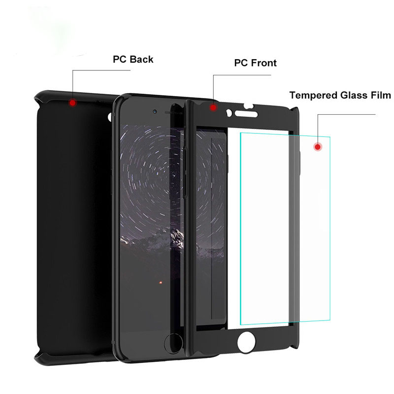 FLOVEME 360 Degree Case For iPhone 6 6S iPhone 7 Plus Full Coverage Cases Plastic Case For iPhone 5S 5 SE 6S Free Tempered Glass