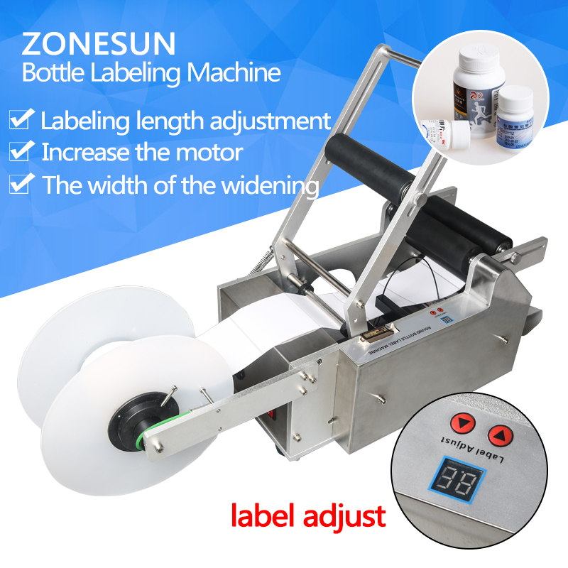 ZONESUN semi automatic handle LT-50 Round Plastic water wine beer cans tube vial pet glass bottle labeling machine wine cask shape automatic plastic toothpick holder black