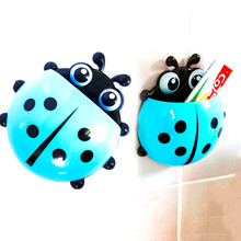 Lovely Ladybug Cartoon Suction Bathroom Accessories Products Wall Mounted Toothbrush Holder Cup 1 Pcs 2016