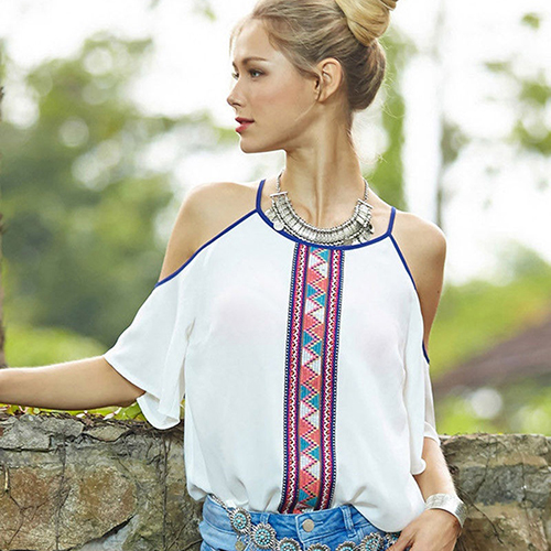 Womens Sexy Tops Off Shouler Shirt Summer Casual Loose T-shirt ...