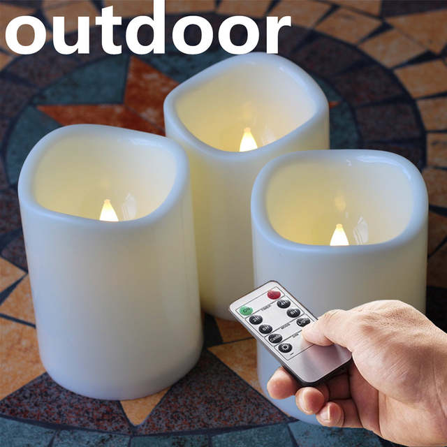3pcs Outdoor Flameless Battery Opeated Plastic Led Pillar Candles With Remote And Timer Design 3 X