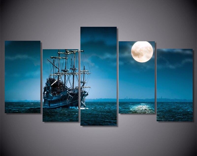 5Piece Umělecká malba na plátně HD Tištěné Fantasy Loď Loď Plakát Reprodukce Modulární nástěnný obraz pro domácí dekor Quadro Unframed