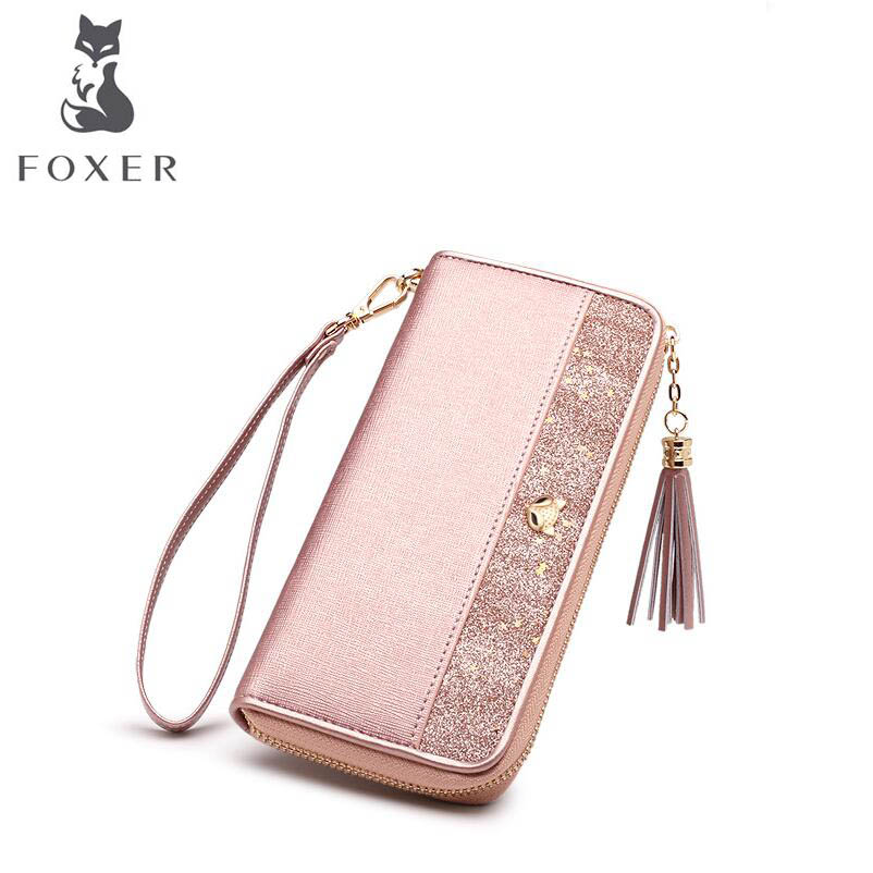 FOXER 2018 New women leather wallets new women long wallets Simple fashion zipper leather tassel wallets purse women clutch bags wallets