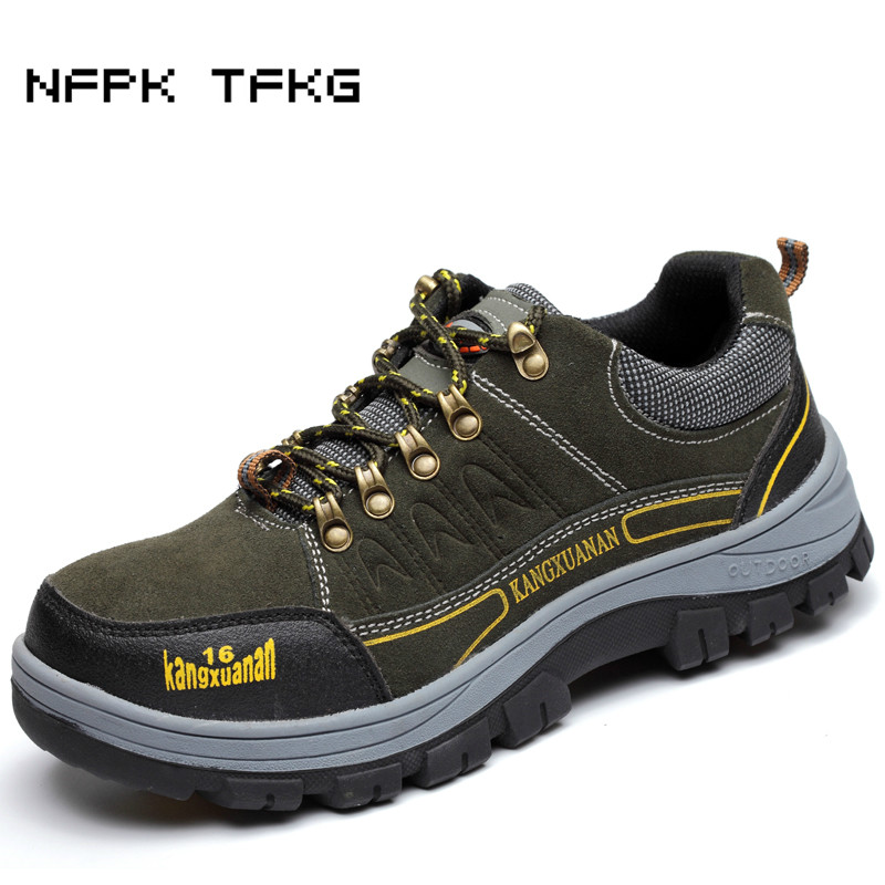 men s fashion large size breathable steel toe caps work safety shoes comfort cow suede leather