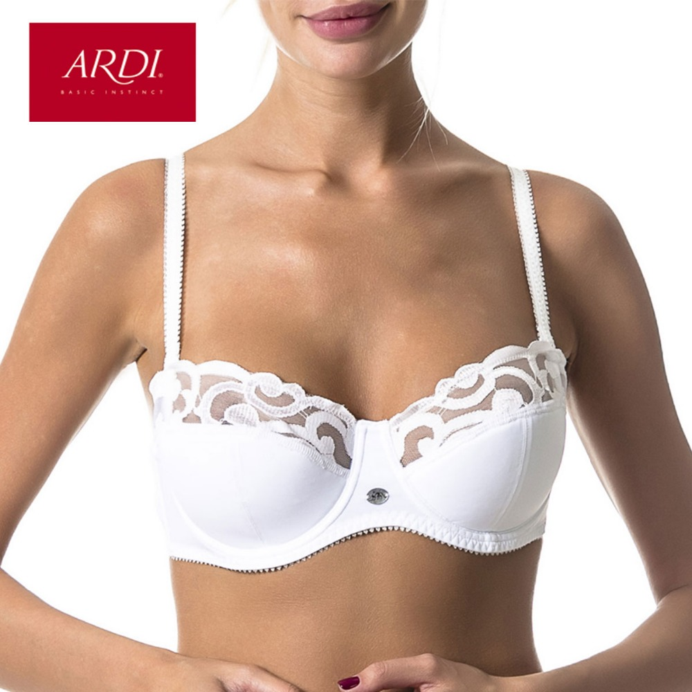 13887aef96 ARDI New Lace Full Coverage Underwire Balconette Women s Bra Demi Soft Cup  with Cotton Large Size Big Breast Underwear R2706-18