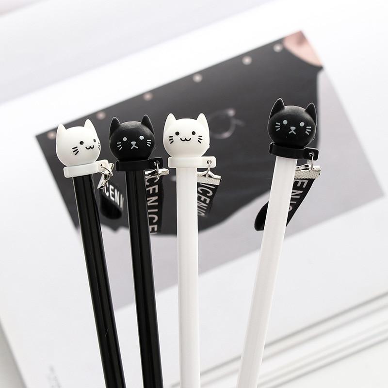 Gel Pens Kawaii Cute Cat Pen 0.38mm Ball Point Black for School Office Supplies thumbnail