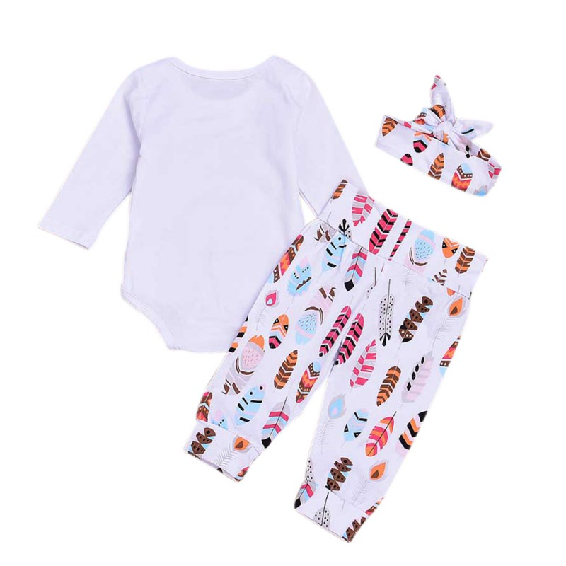 Newborn Baby Clothing Set for girl Isn 39 t She Lovely Long Sleeve Romper Feather Trousers Rabbit Ear Headband Clothes Set in Clothing Sets from Mother amp Kids