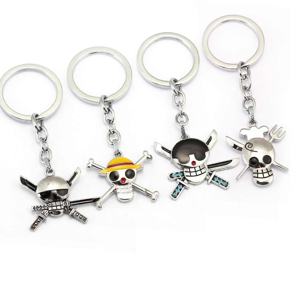 2019 One Piece luffy crânio do pirata do anel chave de cadeia Chaveiro pingente de metal Figura jóias homens acessórios do brinquedo chaveiro logotipo onepiece