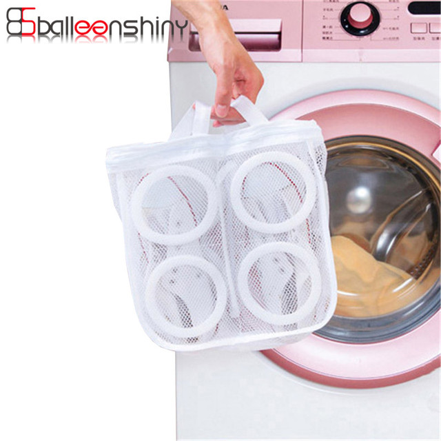 BalleenShiny Household Mesh Foldable Laundry Bag Shoes Sports Sneaker Machine Cleaning Dry Bag Organizer Holder Storage Tools