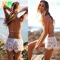 2016 Nova Moda Verão Cintura Elástica das Mulheres Sólida Curto Cheia do laço escavar Shorts Mulheres Praia pantalon femme CJZDK0003