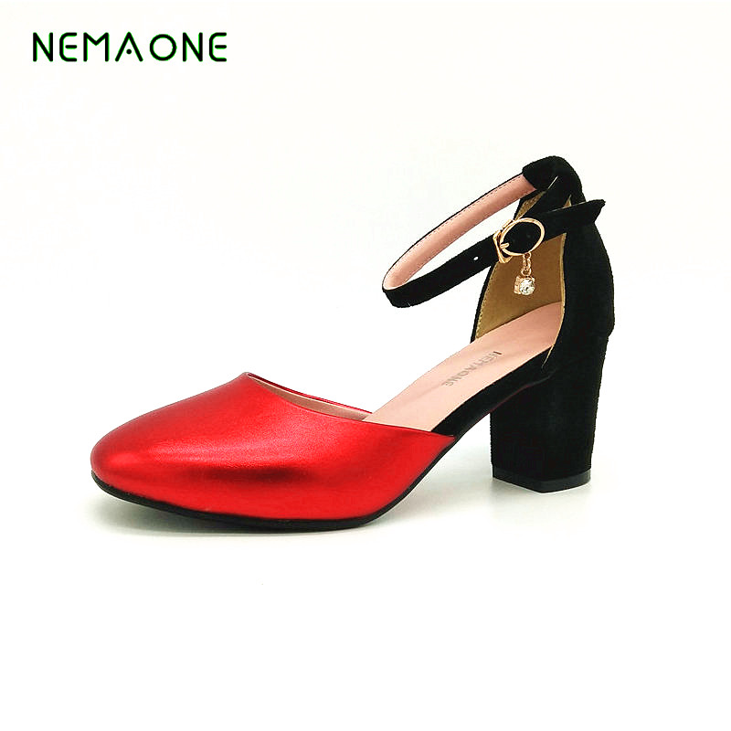NEMAONE Bacia Square Heel pumps summer Shoes For Women Luxury Quality Heels Round Toe Slip On Shoes woman 2017 shoes women med heels tassel slip on women pumps solid round toe high quality loafers preppy style lady casual shoes 17