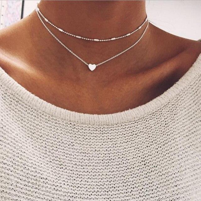 0e42de05dc919 New Silver Gold Color Jewelry Love Heart Necklaces & Pendants Double Chain  Choker Necklace Collar Women Statement Jewelry Bijoux