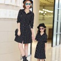 2016  New Autumn And Winter Family matching outfits Mother daughter dresses mom girl clothes Black Dot summer Long sleeve dress