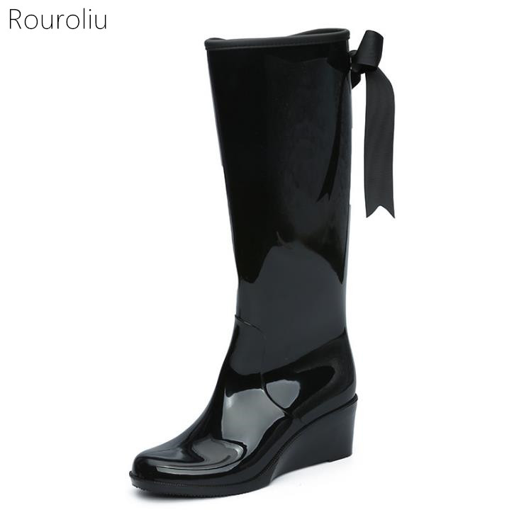 Hot New Women Fashion Side Zipper Bowtie PVC Rain Boots knee High ...