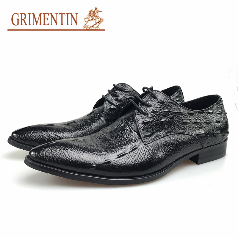 GRIMENTIN 2019 New Summer brand fashion mens dress shoes genuine leather comfortable crocodile style UK black male shoesGRIMENTIN 2019 New Summer brand fashion mens dress shoes genuine leather comfortable crocodile style UK black male shoes