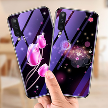 For Samsung A50 Case Tempered Glass Bumper Blue Ray Flower Deer Coque Back Cover for Samsung Galaxy A50 Case fundas shell capa цена и фото