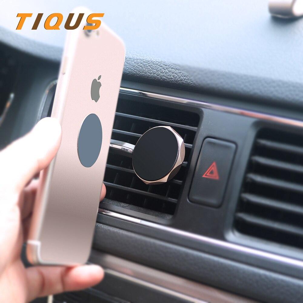 Tiqus Универсальный автомобильный держатель телефона Магнитный держатель для телефона в автомобиль с поворотом на 360 ° GPS для iPhone 7 samsung S8 магнитное крепление держателя