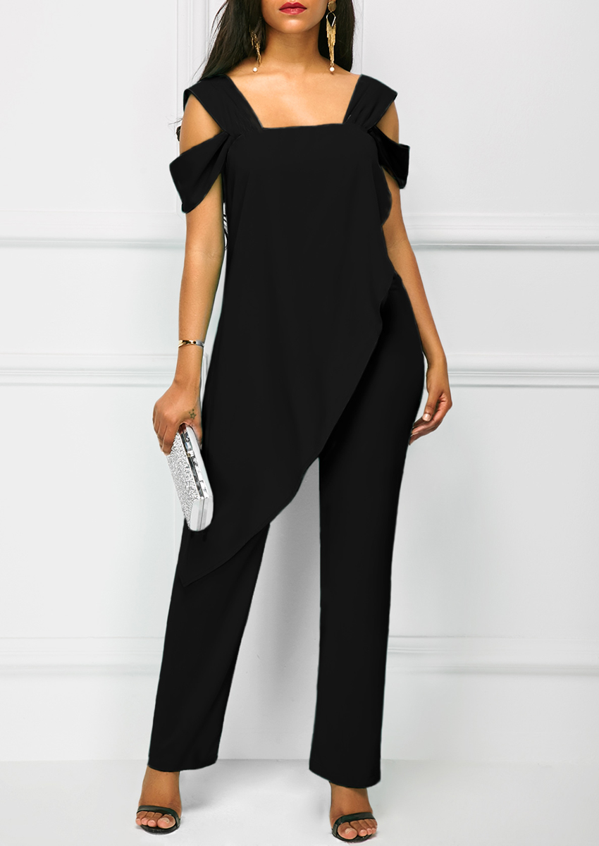 2019 Summer Women Casual Strap Open Back Overlay Jumpsuit Fashion Cold Shoulder Straight Leg Jumpsuit Plus Size Jumpsuits