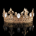 Мужская King Crown Imperial Средневековой Театрализованное Пром Аксессуары Горный Хрусталь Ирисы Тарья Полный Круглый Корона HG0008