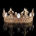 Los hombres del Rey Corona Imperial Medieval Pageant Prom Accesorios Rhinestone Iris Taria Completa Ronda Corona HG0008