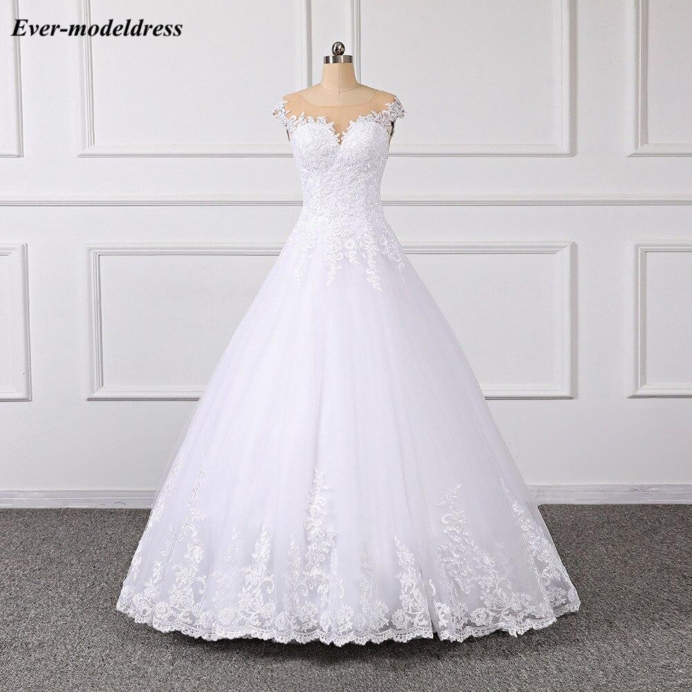 Купить кружевное свадебное платье принцессы 2019 бальное с иллюзией