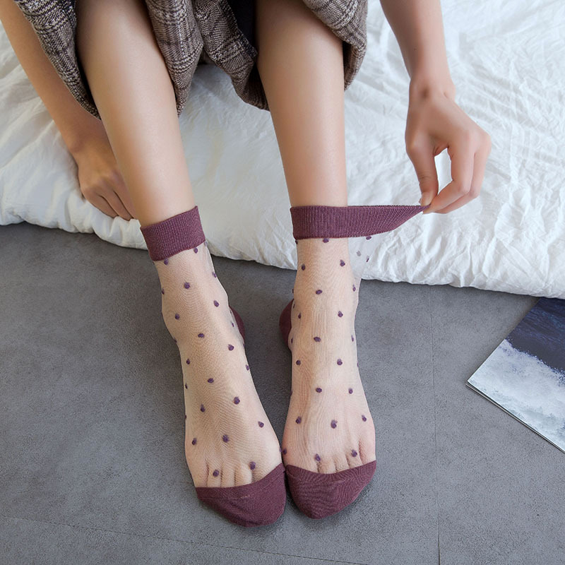 Transparent Women Sock Summer Sheer Fashion Socks Women's Shiny Mesh Sexy Glitter Short Candy Cotton Cute Casual Socks Female