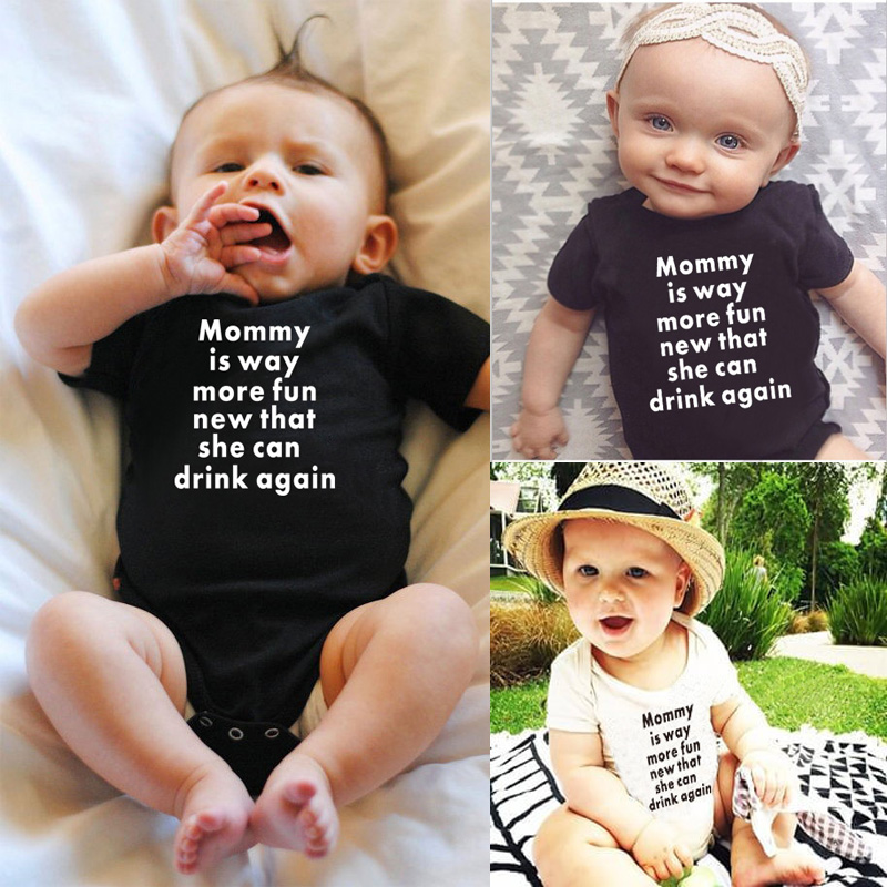 DERMSPE Romper Newborn Baby-Boys-Girls Jumpsuit Short-Sleeve Letter Print Summer Fashion