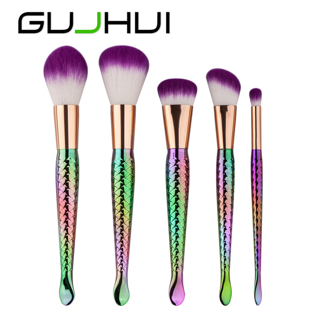 Makeup brush GUJHUI ColorWomen 5pcs Mermaid Makeup Brushes Set Women Colored Cosmetic Powder Brush 161221 Drop Shipping