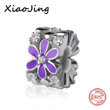 цены Hot sale 925 Sterling Silver purple enamel flower charms beads with Fit authentic pandora Bracelets diy Jewelry making Gift