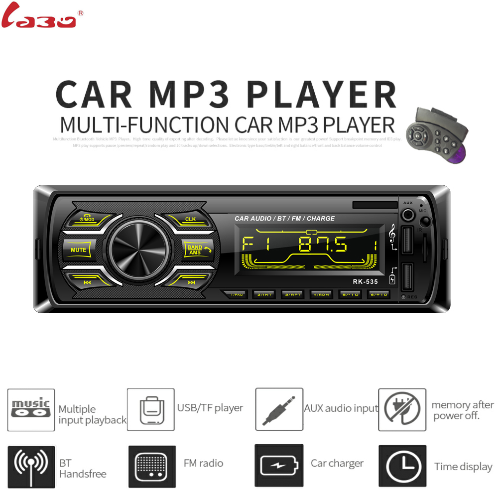 Car Radio Stereo Player Digital Bluetooth Car MP3 Player 60Wx4 FM Radio Stereo Audio USB/SD In Dash AUX Direction controller image