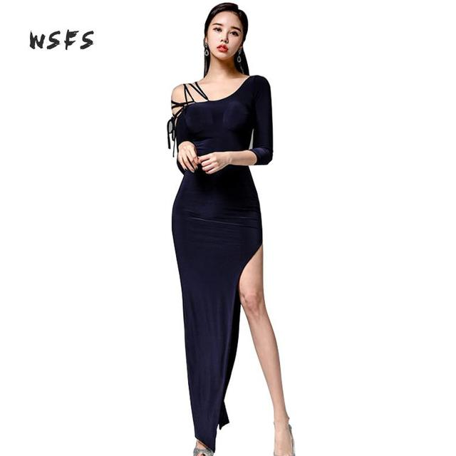 0fa7bd5383 Wsfs Summer Navy Dresses One Shoulder Lace Up Women Dress Office Lady Sexy  Party Vintage Bandage Long Maxi Asymmetrical Dress