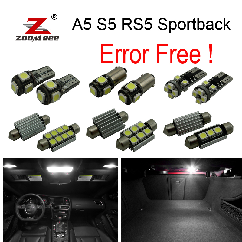20pcs canbus error free LED bulb interior dome light kit package for Audi A5 S5 RS5 sportback (2009-2015) 15pc x 100% canbus led lamp interior map dome reading light kit package for audi a4 s4 b8 saloon sedan only 2009 2015