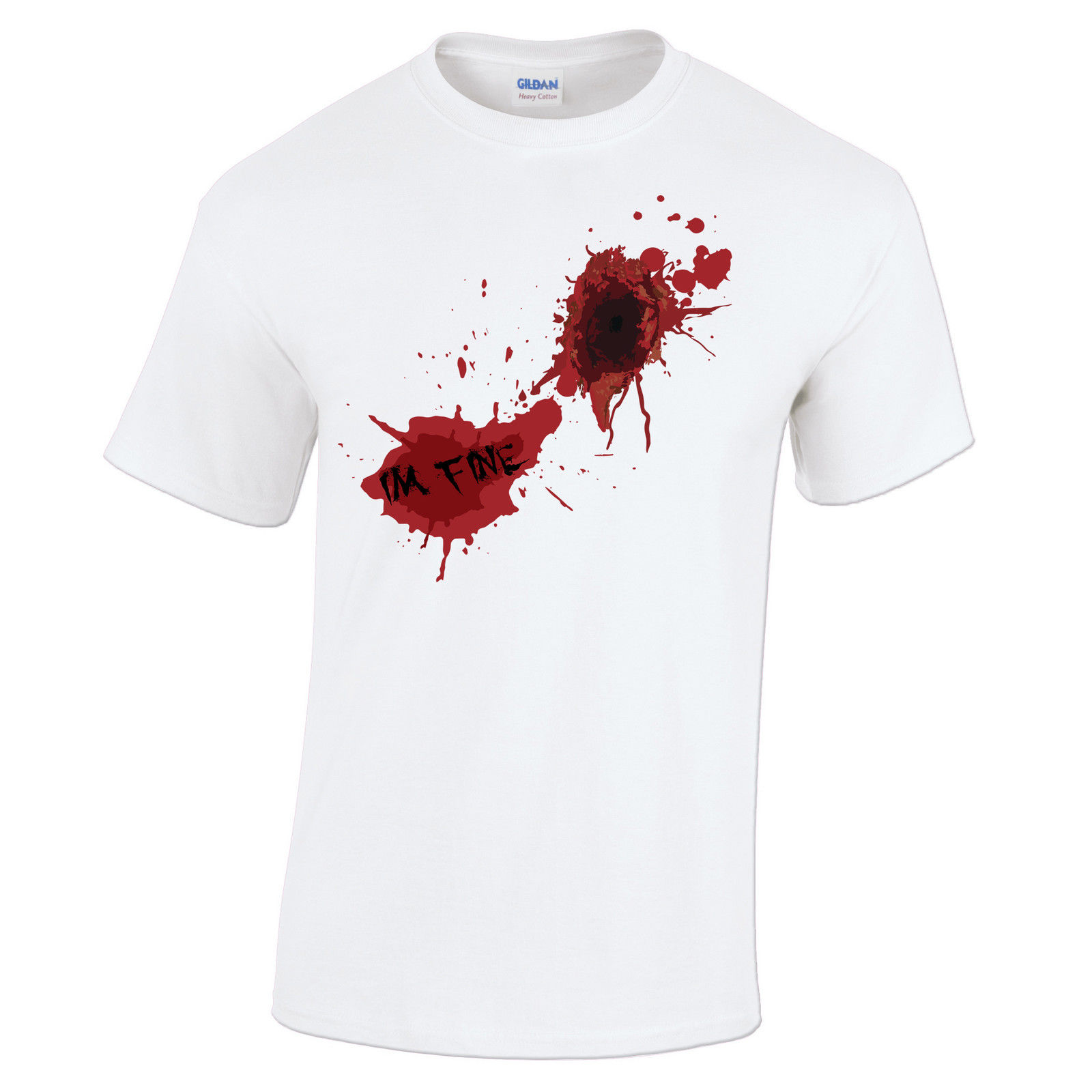 Summer Style Fashion Swag T Shirts Men's Short New Style Crew Neck I'm Fine Zombie Gunshot Wound Blood Splatter Design