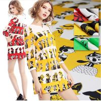114cm Width 12mm Cartoon Popeye Oliver 100% Mulberry Silk Crepe de Chine Fabric for Woman Summer Dress Blouse Sewing DIY