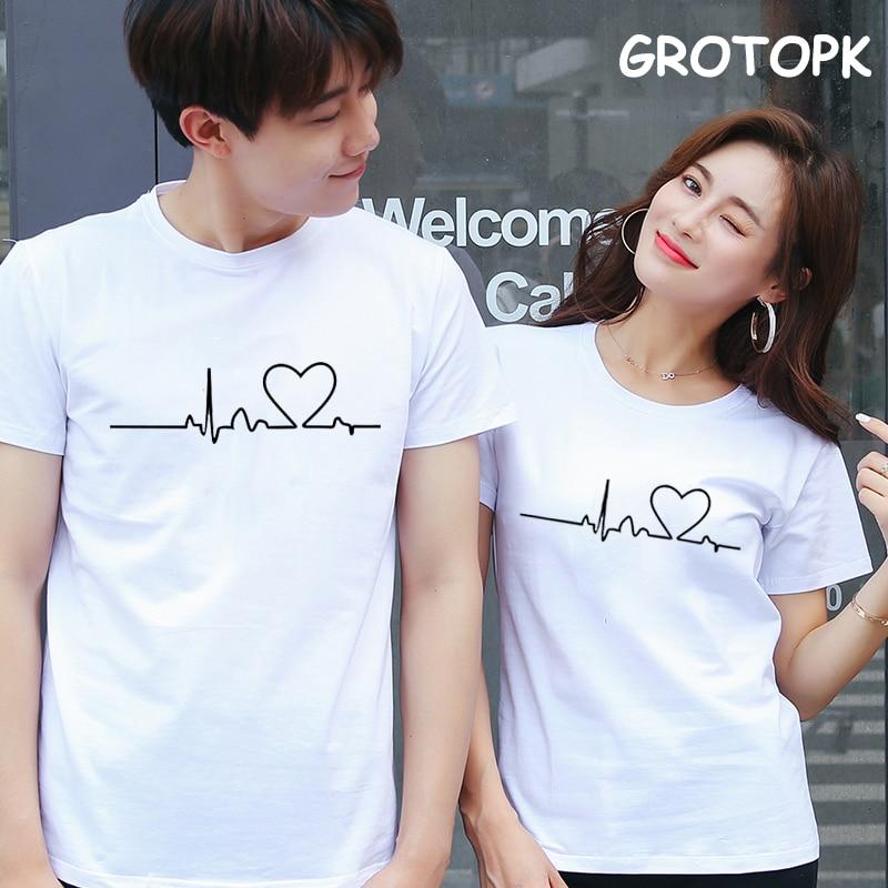 Simple ECG Prints Couple Clothes Summer 2019 Cotton Female T-shirt Kawaii Harajuku Korean Clothes Paired T-shirts For Men Women