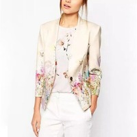 Fashion Women Elegant Floral Printed Single Button Casual Business Beige Autumn Winter Suit Blazer